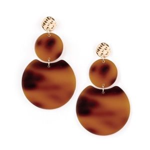 Brown acrylic earrings with gold accents